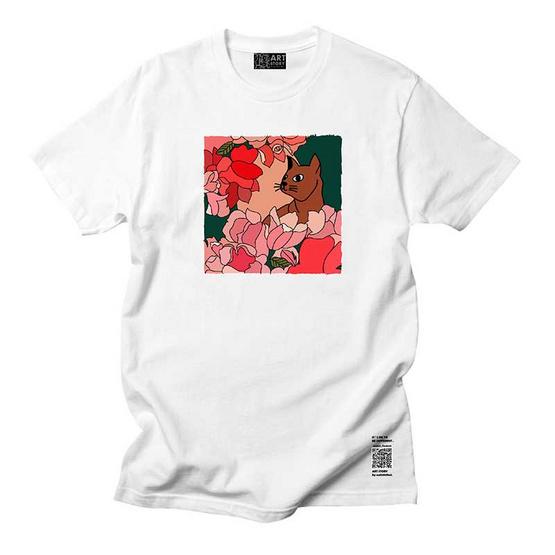 เสื้อสกรีนลาย แมวในดอกไม้ทิว