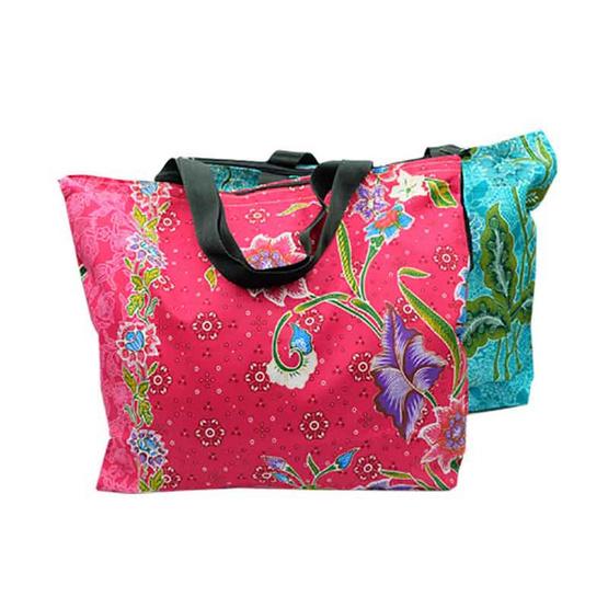 กระเป๋าผ้าปาเต๊ะ รุ่น35x45cm อัดผ้ากาว