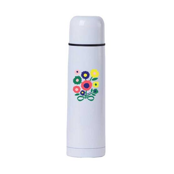 กระบอกน้ำสแตนเลสลาย Blossom daisy สีขาว