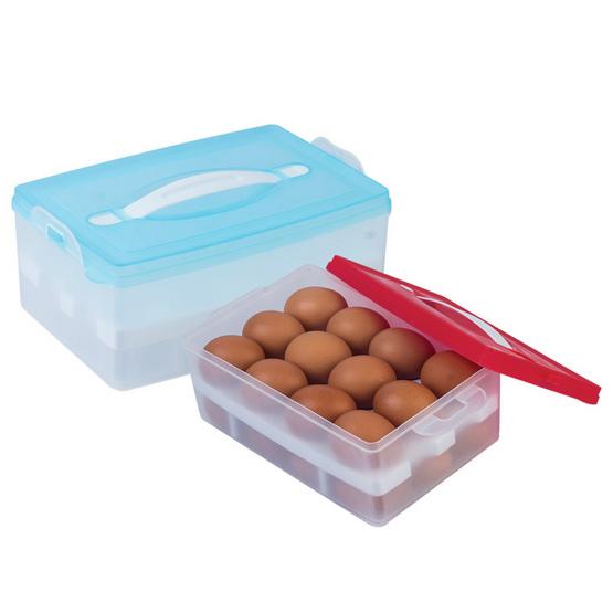 กล่องเก็บไข่ 2 ชั้น แพ็กคู่ (แดงและฟ้า)