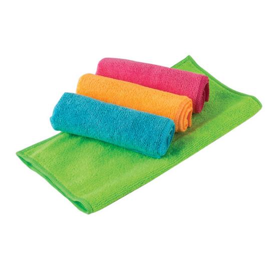 ผ้าไมโครไฟเบอร์ แพ็ค 4 ชิ้น (คละสี)