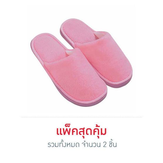รองเท้าใส่เดินในบ้านสีพื้น สีชมพู ไซส์ 39
