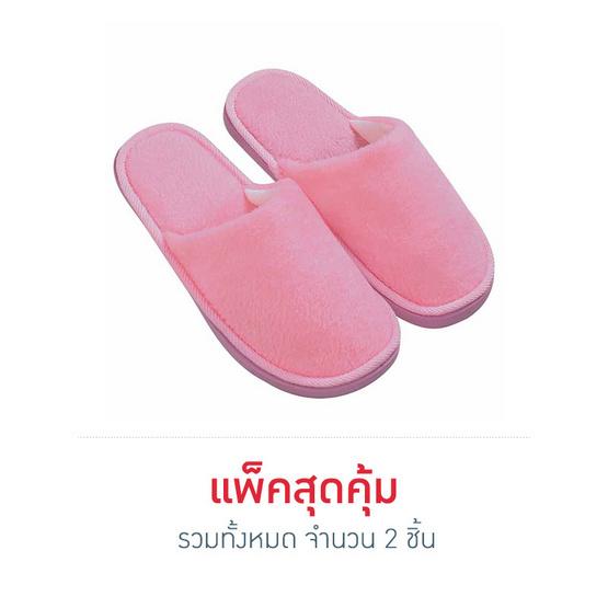 รองเท้าใส่เดินในบ้านสีพื้น สีชมพู ไซส์ 39 แพ็ก 2