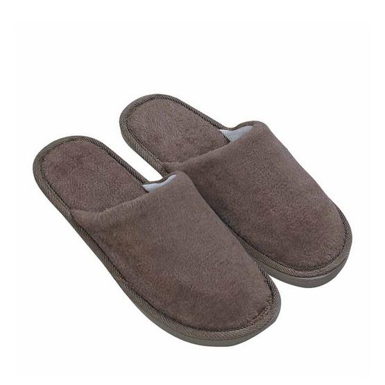 รองเท้าใส่เดินในบ้านสีพื้น สีน้ำตาล ไซส์ 44 แพ็ก 2