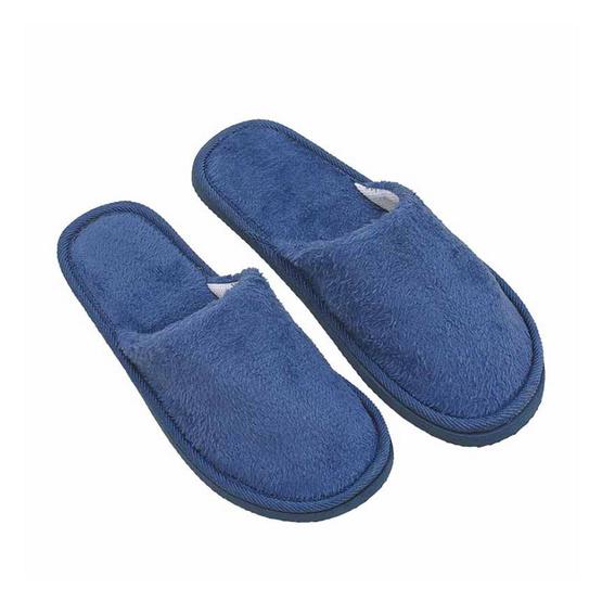 รองเท้าใส่เดินในบ้านสีพื้น สีน้ำเงิน ไซส์ 44 แพ็ก 2