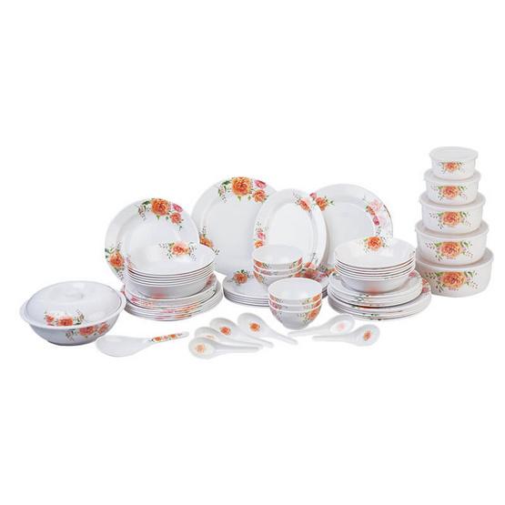 ชุดจานชามเมลามีน 69 ชิ้น (ดอกทับทิม สีส้ม)
