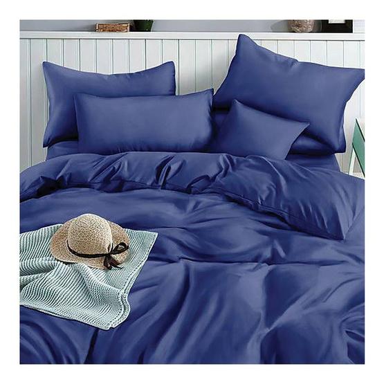 Mamori ชุดผ้าปูที่นอน 3.5 ฟุต 3 ชิ้น สีพื้นน้ำเงิน