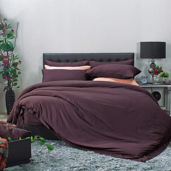 Satin Plus ผ้าปู 6 ฟุต 5 ชิ้น+นวม PS015 สีม่วง