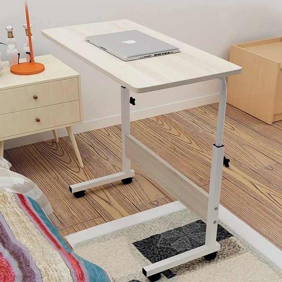 โต๊ะโน๊ตบุคอเนกประสงค์ มีล้อเลื่อน สีบีซ