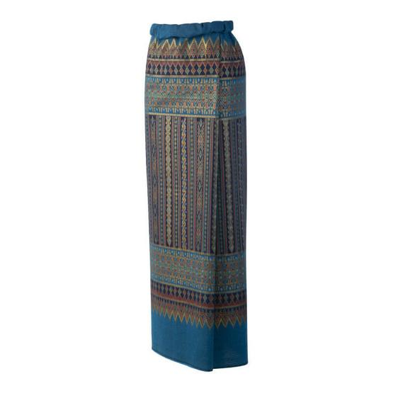 ผ้าถุงพิมพ์ทองลายทางสีน้ำเงิน