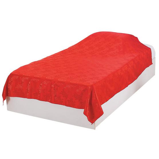 ผ้าแพร 60x80 นิ้ว ลายกุหลาบ สีแดง