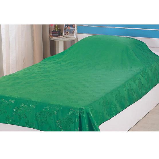 ผ้าแพร 60x80 นิ้ว ลายกุหลาบ สีเขียวเข้ม