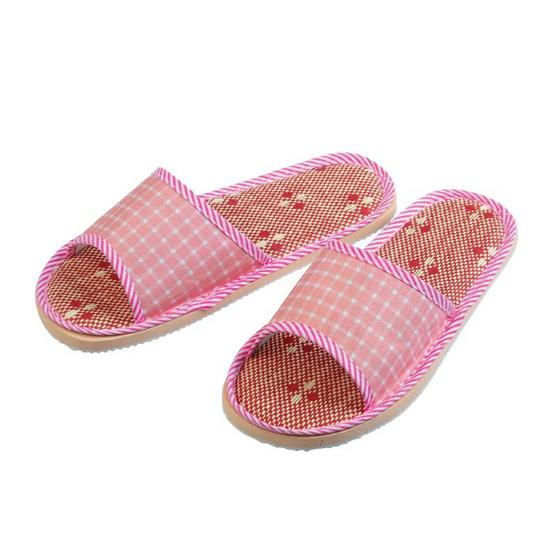 รองเท้าใส่เดินในบ้านหัวเปิด สีชมพู แพ็ค2
