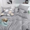 Mojiko ชุดผ้าปูที่นอน6ฟุต5ชิ้น ลายใบไม้+พื้นเทา